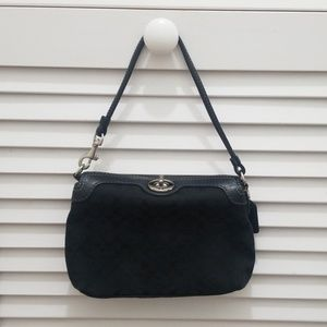 Black canvas Coach wristlet